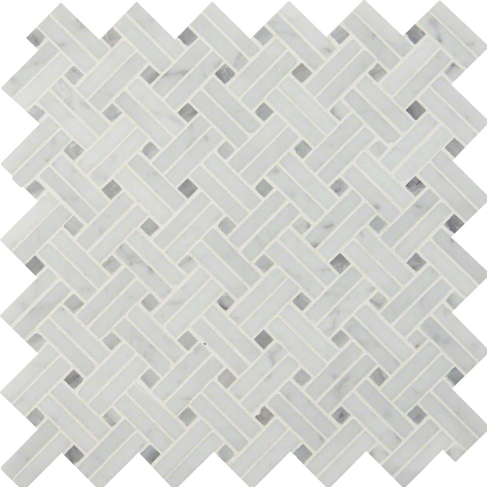 Carrara White Basketweave Pattern Polished Colonial