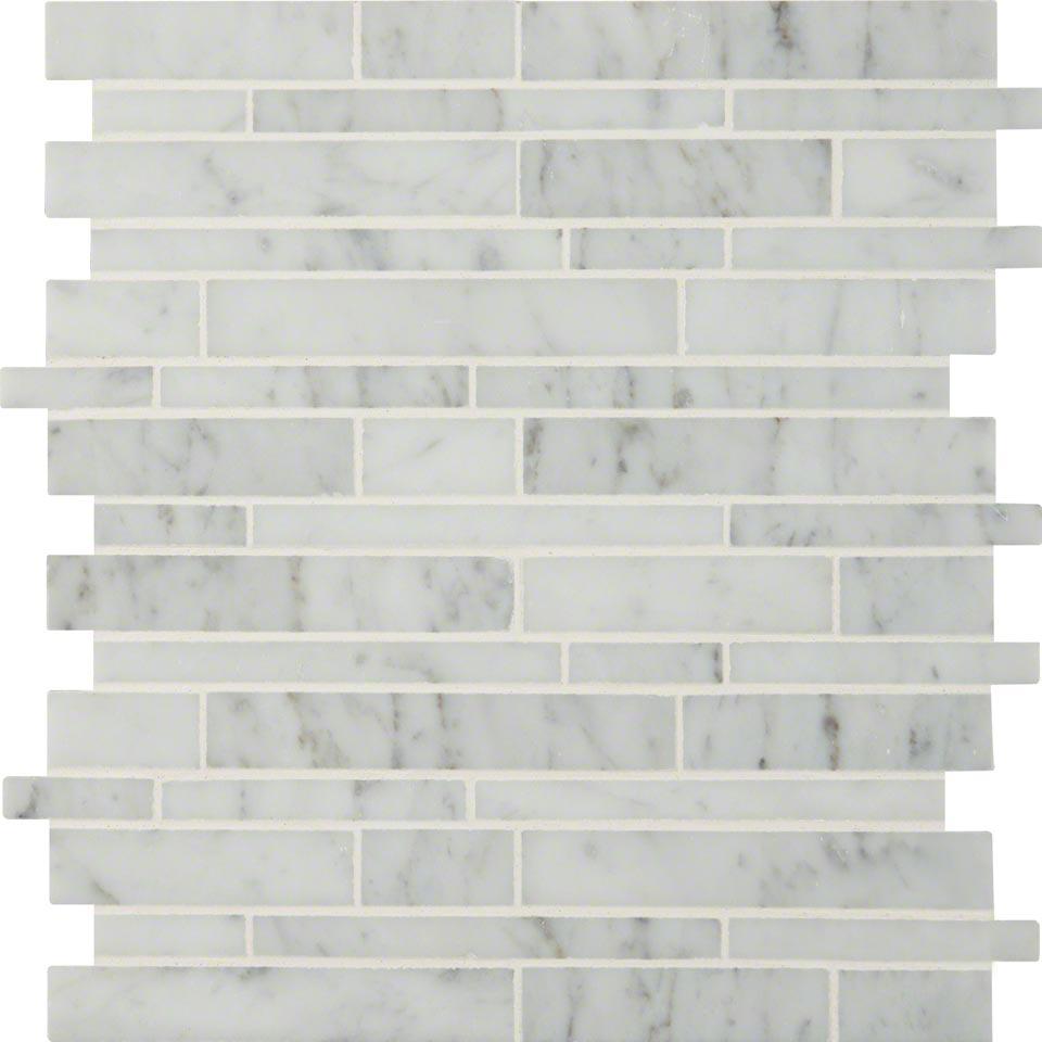 10sf Carrara White Marble Gray Glass Linear Mosaic Tile: Carrara White Rsp Interlocking Pattern Polished