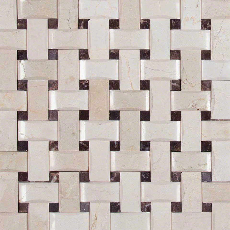 Crema Basketweave Arched Pattern Polished Colonial