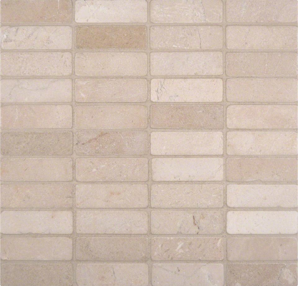 Crema Marfil 1x3 Tumbled In 12x12 Mesh Colonial Marble