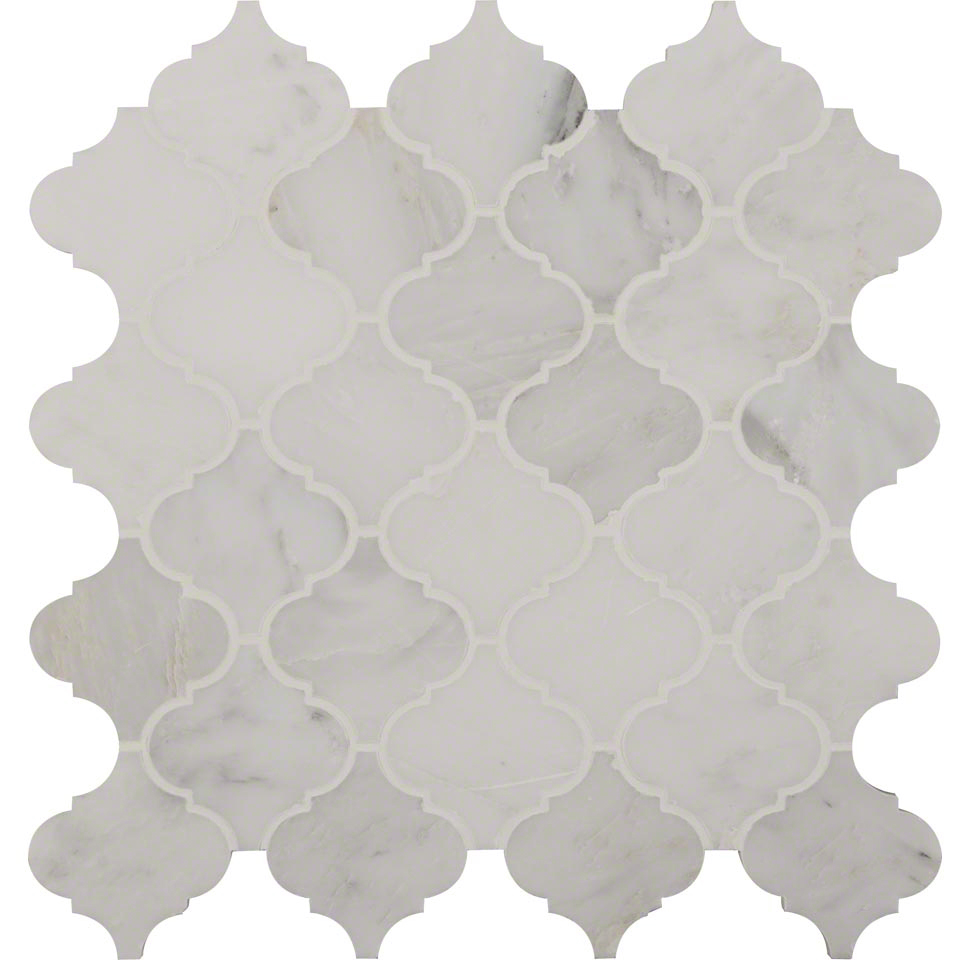 Greecian White Arabesque Pattern Polished Colonial