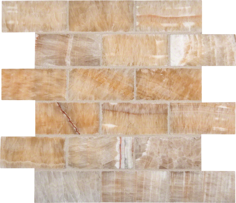 Honey Onyx 2x4x8mm Subway Tile In 12x12 Mesh Colonial