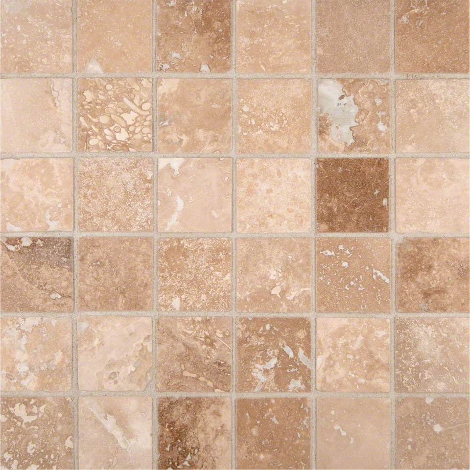 Ivory Travertine Tiles: Ivory Travertine 2x2 Honed And Filled In 12x12 Mesh
