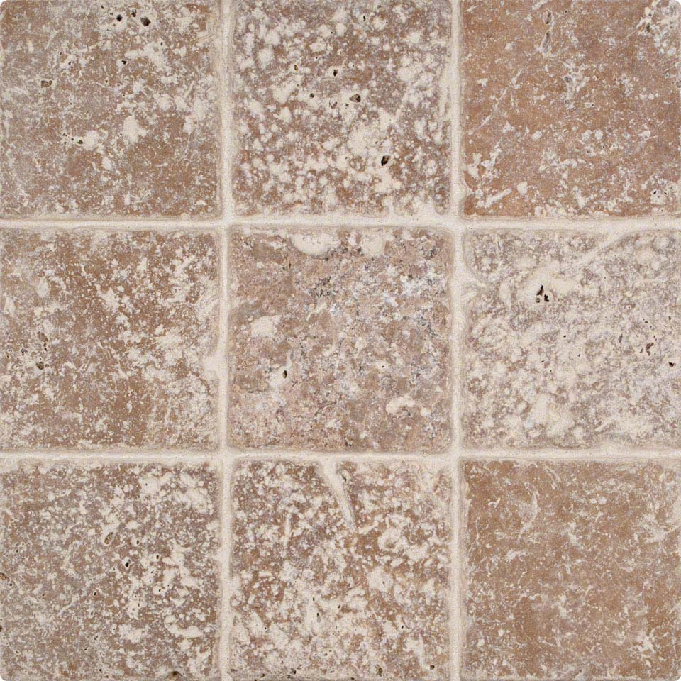 Tuscany Walnut 4?4 Tumbled Tile Colonial Marble & Granite