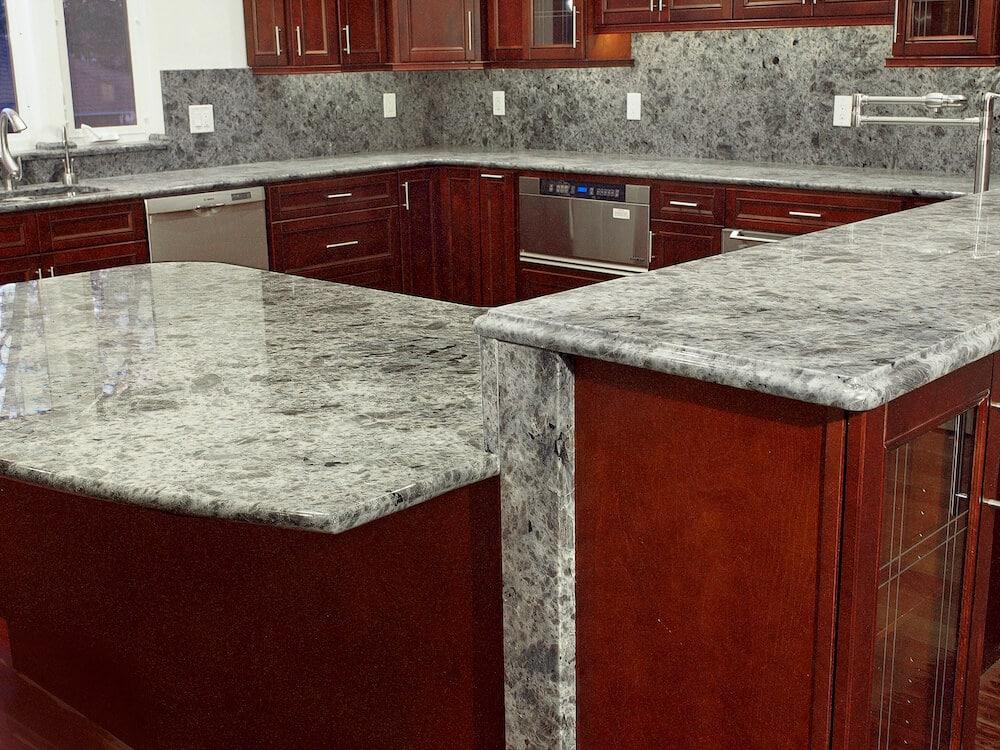 Material - Labrador Multicolor Granite 3CM / Perimeter Edge - Full Bullnose / Bar Tier Edge - Ogee