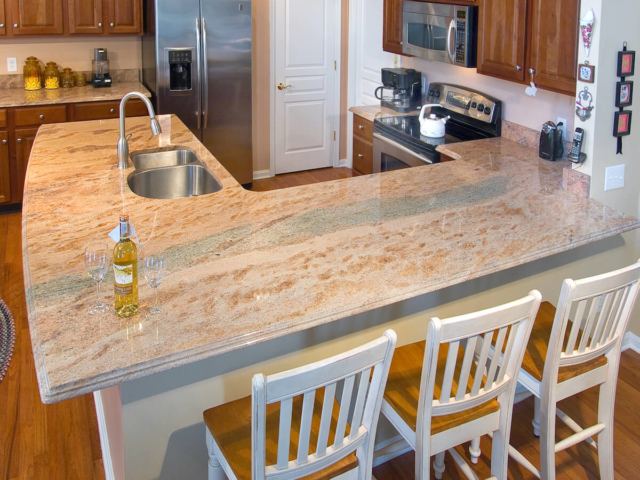 Material - Vyara Gold Granite 3CM / Edge - Cove Dupont / Sink - CMG 3521