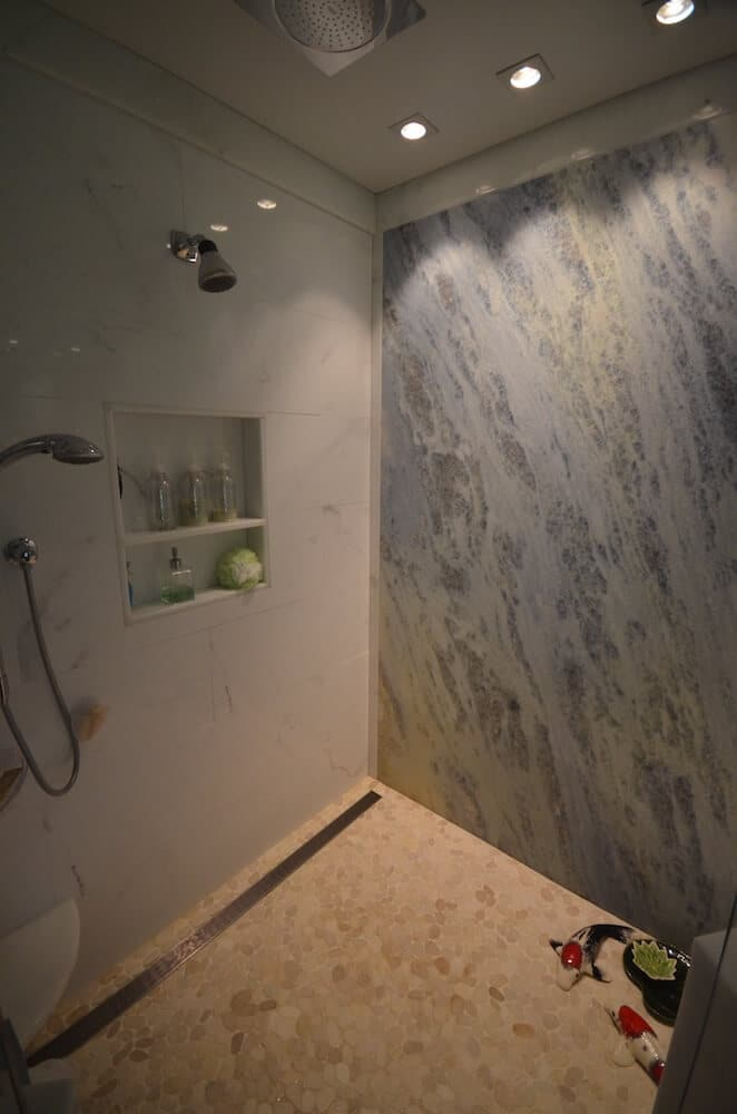Half Wall Material - Heaven Marble 3CM with a 1/4 Bevel Edge / Shower Wall Material - Iceburg Multicolor Leather Quartzite 3CM