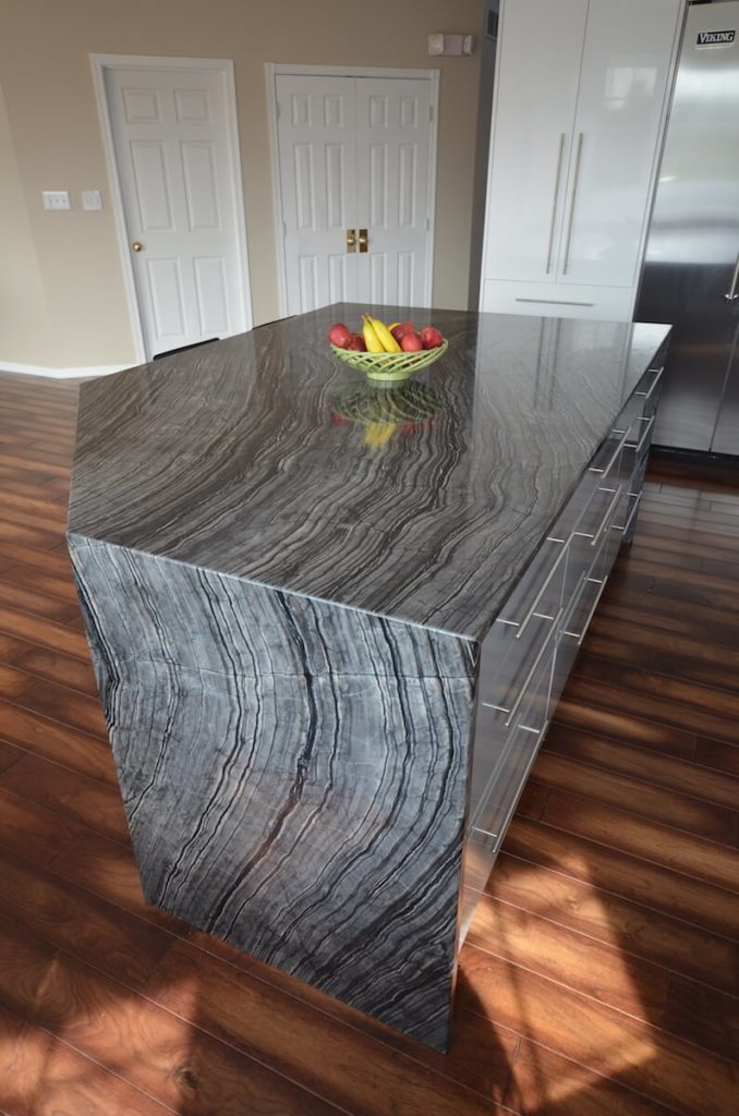 Kitchen Island Material - Silver Snake Quartzite with an Eased, Two-Sided Waterfall edge