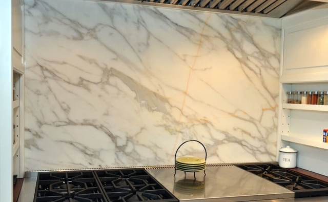 Material - Calacatta Borgi Marble 3CM / Perimeter Edge - Eased / Island Edge - Mitered Apron.