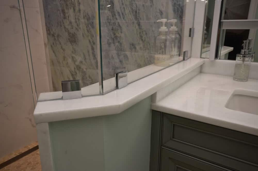 Vanity & Half Wall Material - Heaven Marble 3CM with a 1/4 Bevel Edge / Shower Wall Material - Iceburg Multicolor Leather Quartzite 3CM