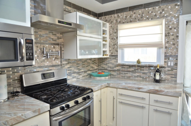 Kitchen Perimeter Material - Blue Fantasy Marble with and Eased edge
