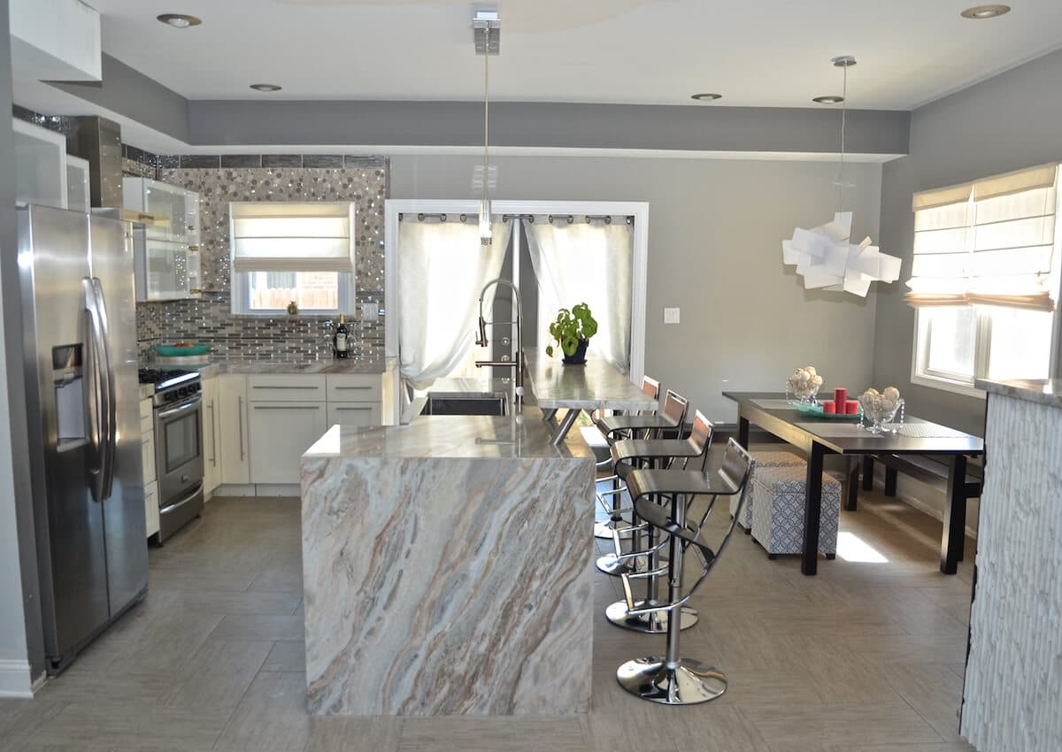 Kitchen Perimeter Material - Blue Fantasy Marble with and Eased edge / Kitchen Island Material - Blue Fantasy Marble Leathered with Eased, Two-Sided Waterfall Edge