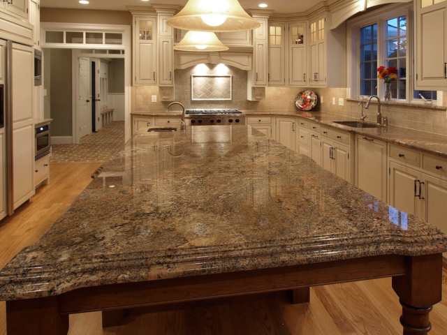 Material - Crema Bordeaux Granite 3CM / Kitchen Perimeter Edge - Half Bullnose / Kitchen Island Lower Tier Edge - Ogee / Kitchen Island Upper Tier Edge - Double Laminated Cove Dupont over Ogee